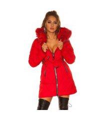 sexy winterjas met ritsen, riem + nep bont capuchon rood
