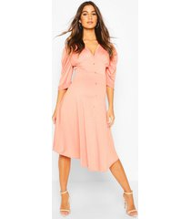 maternity button front midi skater dress, coral