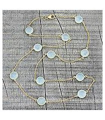 gold plated chalcedony station necklace, 'skyward charm' (india)