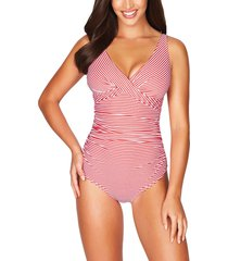 sea level cross front stripe one-piece swimsuit, size 10 us in red at nordstrom