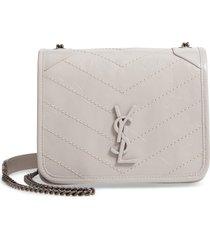 women's saint laurent niki leather crossbody bag - grey