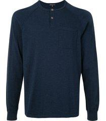 james perse raglan sleeve cashmere sweater - blue
