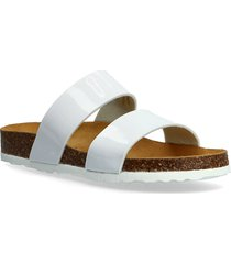 twin strap slip in shoes summer shoes flat sandals vit bianco