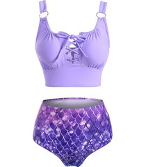 lace up mermaid print o ring tankini swimwear