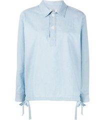 a.p.c. drawstring pullover shirt - blue