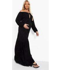 zwangerschap maxi jurk met uitgesneden hals en strik, black