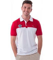 camisa polo vista mare vendée slim fit vermelha e branca