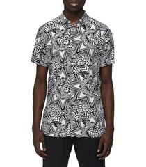 men's selected homme vega slim fit short sleeve button-up shirt, size small - white