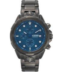 versus by versace men's chronograph 6e arrondissement gunmetal stainless steel bracelet watch 46mm