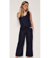 macacão jeans express pantacourt brisa - feminino