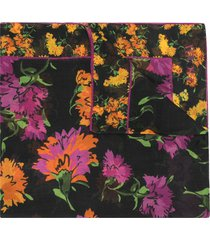 escada floral print scarf - purple