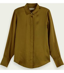 scotch & soda blouse van 100% zijde met lange mouwen