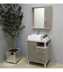 conjunto de banheiro são joão lótus, nude e taupe, 60 cm