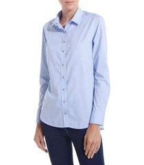 camisa dudalina manga longa tricoline slub bolsos feminina (azul claro, 46)