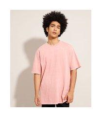 camiseta box de algodão manga curta gola careca rosa