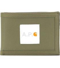 a.p.c. x carhartt shawn wallet - green