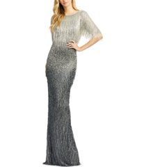 mac duggal fringed ombre gown