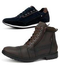 kit de bota coturno casual com sapatênis jogging sapatofran em couro café