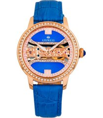 empress rania mechanical blue leather watch 38mm
