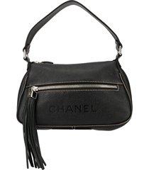 chanel pre-owned tassel detail shoulder bag - black