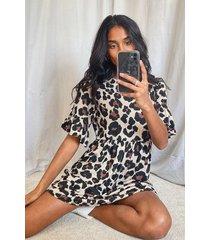 gesmokte luipaardprint jurk, geelbruin