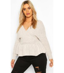 plus knitted wrap peplum sweater, stone