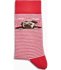 mens red and white stripe pug stripe socks