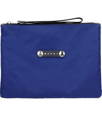 marni clutch in blue nylon