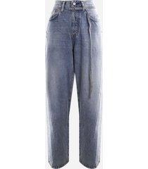 acne studios toj jeans in cotton denim with faded effect