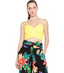 top lucy in the sky cropped amarelo