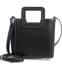 staud mini shirley genuine shearling satchel - black