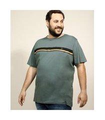 camiseta masculina plus size com listras manga curta gola careca verde