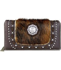 3 colors trinity ranch hair-on montana west leather wallet