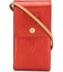 louis vuitton 2001 pre-owned vernis cigarette shoulder pouch - red