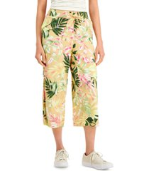 style & co floral-print cropped pants, created for macy's
