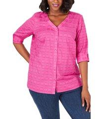 plus size women's foxcroft asher clip square cotton button-up shirt