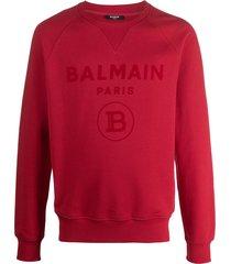balmain logo-print raglan sweatshirt - red
