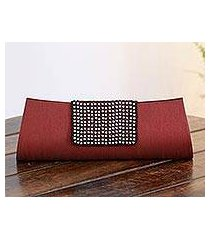 beaded clutch evening bag, 'ruby allure' (india)