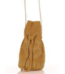 bolsa feminina  alça de corrente transversal em couro caramelo - tricae