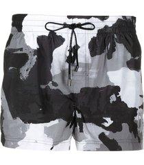 dolce & gabbana camouflage-pattern swim shorts - black