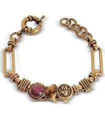 alcozer & j designer bracelets, sacred heart golden brass bracelet w/gemstone