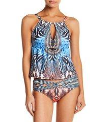 2-piece printed tankini & bikini bottom set