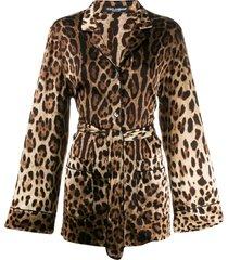 dolce & gabbana leopard-print satin pajama shirt - brown