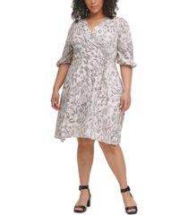 calvin klein plus size floral-print surplice-neck challis dress