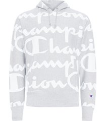 blusa masculina moletom reverse weave pullover hood all over print - cinza