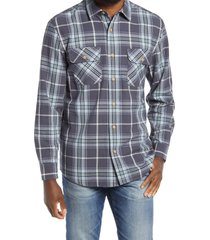 men's pendleton beach shack plaid long sleeve button-up shirt, size small - blue