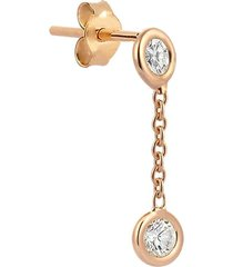 2 solitaire diamond chain earring