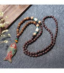 handmade nepal buddista mala collana di perline di legno collana lunga collana pendente di pesce per le donne uomini