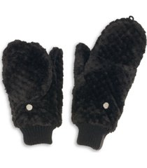 calvin klein faux fur textured flip-top mittens