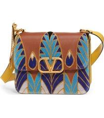 valentino garavani v-sling embroidered shoulder bag - blue